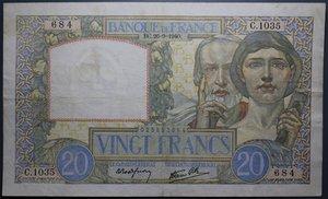 R/ FRANCIA 20 FRANCS 26.09.1940 qSPL