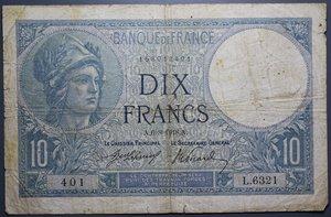 R/ FRANCIA 10 FRANCS 06.08.1918 MB-BB