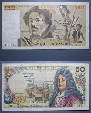 R/ FRANCIA 20 FRANCHI 1987-50 FRANCHI 1965-100 FRANCHI 1987 LOTTO 3 BANCONOTE BB/qSPL