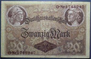 D/ GERMANIA 20 MARK 1914 7 DIGIT SERIAL BB