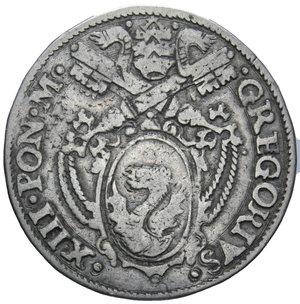 D/ STATO PONTIFICIO GREGORIO XIII 1572-1585 TESTONE ANCONA AG. 9,37 GR. BB