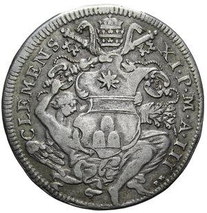D/ STATO PONTIFICIO CLEMENTE XI MEZZA PIASTRA 1703 A. III AG. GR. 15,82 BB-SPL