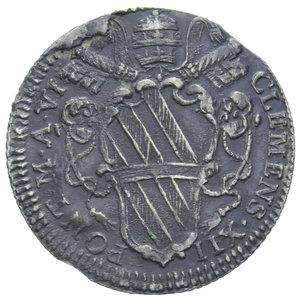 D/ STATO PONTIFICIO CLEMENTE XII 1730-1740 GIULIO AG. 2,71 GR. BB (APPICCAGNOLO RIMOSSO)