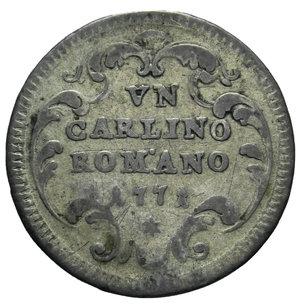 R/ STATO PONTIFICIO CLEMENTE XIV CARLINO ROMANO 1771 2,66 GR. qBB