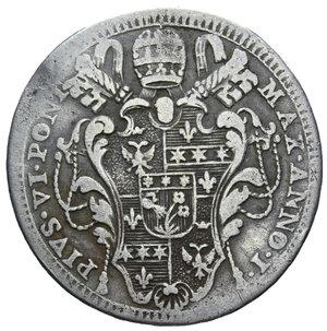D/ STATO PONTIFICIO PIO VI DOPPIO GIULIO 1775 AG. 5 GR. MB+