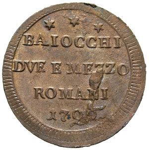 R/ STATO PONTIFICIO PIO VI 2 BAIOCCHI E MEZZO 1796 ROMANI SAMPIETRINO FDC (TRACCE DI ROSSO)