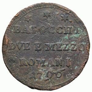 R/ STATO PONTIFICIO PIO VI 2 BAIOCCHI E MEZZO 1796 ROMANI SAMPIETRINO 21,43 GR. BB/qBB