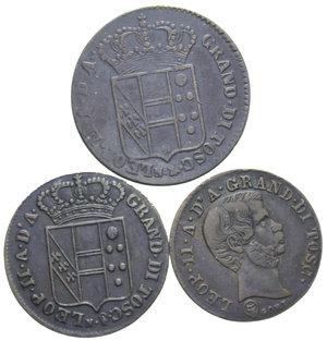 D/ FIRENZE LOTTO 3 MONETE (3 QUATTRINI 1832-5 QUATTRINI 1830-10 QUATTRINI 1858) MED. BB-SPL