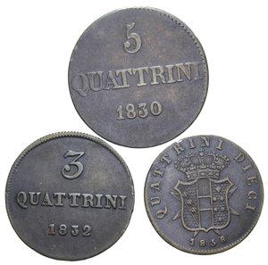 R/ FIRENZE LOTTO 3 MONETE (3 QUATTRINI 1832-5 QUATTRINI 1830-10 QUATTRINI 1858) MED. BB-SPL