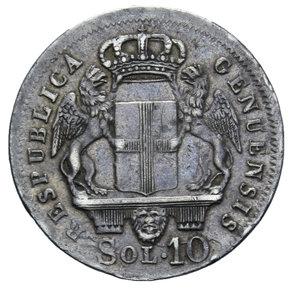 R/ GENOVA REPUBBLICA 10 SOLDI 1814 AG. 2,1 GR. BB/BB+