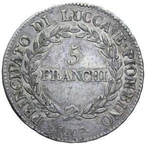 R/ LUCCA E PIOMBINO 5 FRANCHI 1807 BUSTI MEDI NC AG. 24,91 GR. BB+
