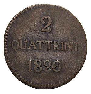 R/ DUCATO DI LUCCA CARLO LUDOVICO DI BORBONE 2 QUATTRINI 1826 1,9 GR. BB+