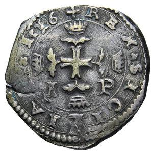 R/ REGNO DI SICILIA FILIPPO III MESSINA 3 TARI' 1616 IP AG. 7,71 GR. BB