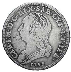 obverse: CARLO EMANUELE III 1/4 DI SCUDO 1756 AG. 8,80 GR. qBB