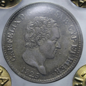 obverse: CARLO FELICE 50 CENT. 1825 TORINO AG. 2,5 GR. qFDC PERIZIATA RANIERI