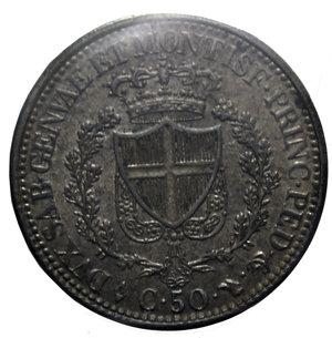 reverse: CARLO FELICE 50 CENT. 1825 TORINO AG. 2,5 GR. qFDC PERIZIATA RANIERI