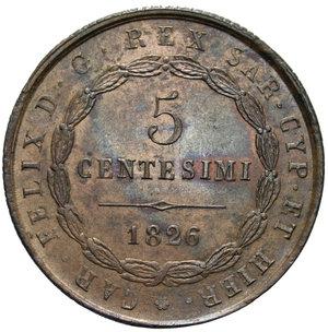 reverse: CARLO FELICE 5 CENT. 1826 GENOVA 10 GR. qFDC
