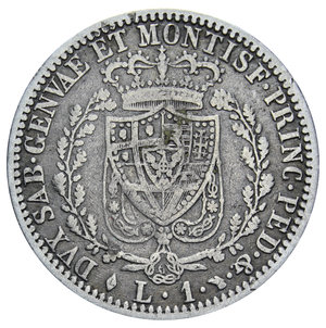 reverse: CARLO FELICE 1 LIRA 1827 TORINO AG. 4,75 GR. qBB