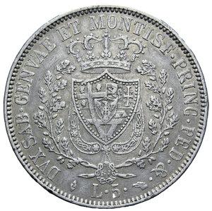 reverse: CARLO FELICE 5 LIRE 1830 TORINO AG. 24,93 GR. BB+
