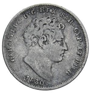 obverse: CARLO FELICE 25 CENT. 1830 TORINO RR AG. 1,20 GR. BB