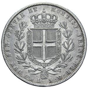 reverse: CARLO ALBERTO 5 LIRE 1836 GENOVA AG. 24,73 GR. BB/BB+