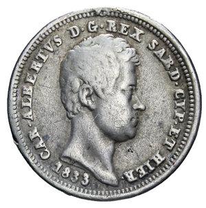 obverse: CARLO ALBERTO 25 CENT. 1833 TORINO R AG. 1,15 GR. MB-BB (APPICCAGNOLO RIMOSSO)