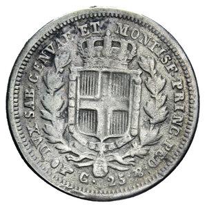 reverse: CARLO ALBERTO 25 CENT. 1833 TORINO R AG. 1,15 GR. MB-BB (APPICCAGNOLO RIMOSSO)