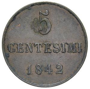 reverse: CARLO ALBERTO 5 CENT. 1842 TORINO R 5,20 GR. BB-SPL (CORROSIONI)