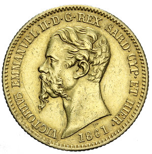 obverse: VITT. EMANUELE II 20 LIRE 1861 TORINO AU 6,45 GR. BB