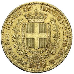 reverse: VITT. EMANUELE II 20 LIRE 1861 TORINO AU 6,45 GR. BB