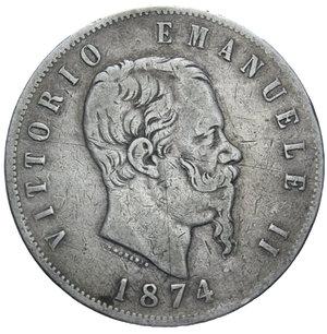 obverse: VITT. EMANUELE II 5 LIRE 1874 MILANO AG. 24,60 GR. qBB