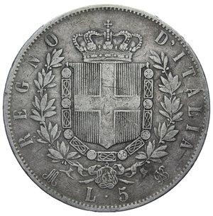 reverse: VITT. EMANUELE II 5 LIRE 1874 MILANO AG. 24,60 GR. qBB