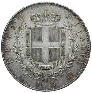 reverse: VITT. EMANUELE II 5 LIRE 1874 MILANO AG. 25,25 GR. SPL-FDC (COLPETTO AL D/)