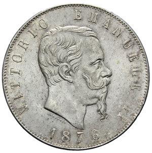 obverse: VITT. EMANUELE II 5 LIRE 1876 ROMA AG. 25,01 GR. SPL+ (SEGNETTI)
