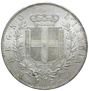 reverse: VITT. EMANUELE II 5 LIRE 1876 ROMA AG. 25,01 GR. SPL+ (SEGNETTI)
