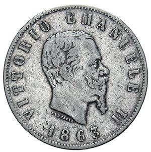 obverse: VITT. EMANUELE II 2 LIRE 1863 NAPOLI STEMMA AG. 9,95 GR. BB