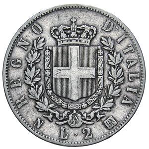 reverse: VITT. EMANUELE II 2 LIRE 1863 NAPOLI STEMMA AG. 9,95 GR. BB