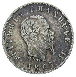 obverse: VITT. EMANUELE II 2 LIRE 1863 NAPOLI STEMMA AG. 9,93 GR. BB