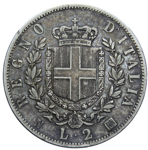 reverse: VITT. EMANUELE II 2 LIRE 1863 NAPOLI STEMMA AG. 9,93 GR. BB