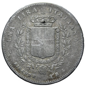 reverse: VITT. EMANUELE II 1 LIRA 1859 FIRENZE RR AG. 4,81 GR. MB+