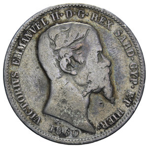 obverse: VITT. EMANUELE II 1 LIRA 1860 MILANO NC AG. 4,71 GR. MB+/qBB