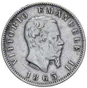 obverse: VITT. EMANUELE II 1 LIRA 1863 MILANO STEMMA AG. 4,91 GR. BB