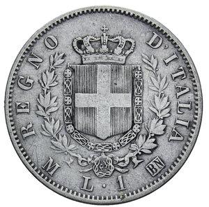 reverse: VITT. EMANUELE II 1 LIRA 1863 MILANO STEMMA AG. 4,91 GR. BB