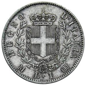 reverse: VITT. EMANUELE II 1 LIRA 1863 MILANO STEMMA AG. 4,98 GR. BB+