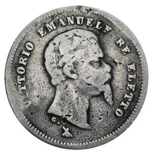 obverse: VITT. EMANUELE II RE ELETTO 50 CENT. 1860 FIRENZE AG. 2,34 GR. MB-BB