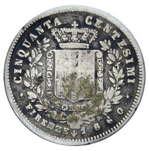 reverse: VITT. EMANUELE II RE ELETTO 50 CENT. 1860 FIRENZE AG. 2,34 GR. MB-BB