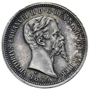 obverse: VITT. EMANUELE II 50 CENT. 1860 MILANO NC AG. 2,5 GR. qFDC