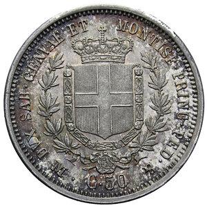 reverse: VITT. EMANUELE II 50 CENT. 1860 MILANO NC AG. 2,5 GR. qFDC