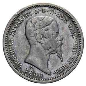 obverse: VITT. EMANUELE II 50 CENT. 1860 MILANO AG. 2,47 GR. BB