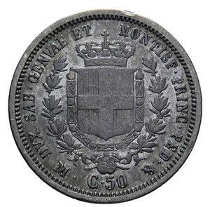 reverse: VITT. EMANUELE II 50 CENT. 1860 MILANO AG. 2,47 GR. BB